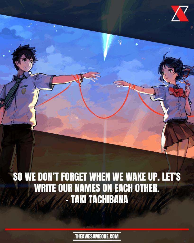 Your Name Quotes Taki Tachibana
